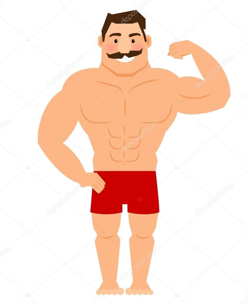 Uomo muscoloso bellissimo cartone animato con i baffi