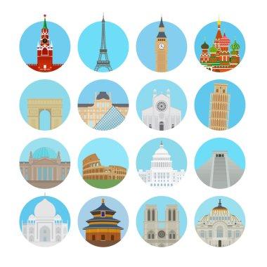World landmarks icons