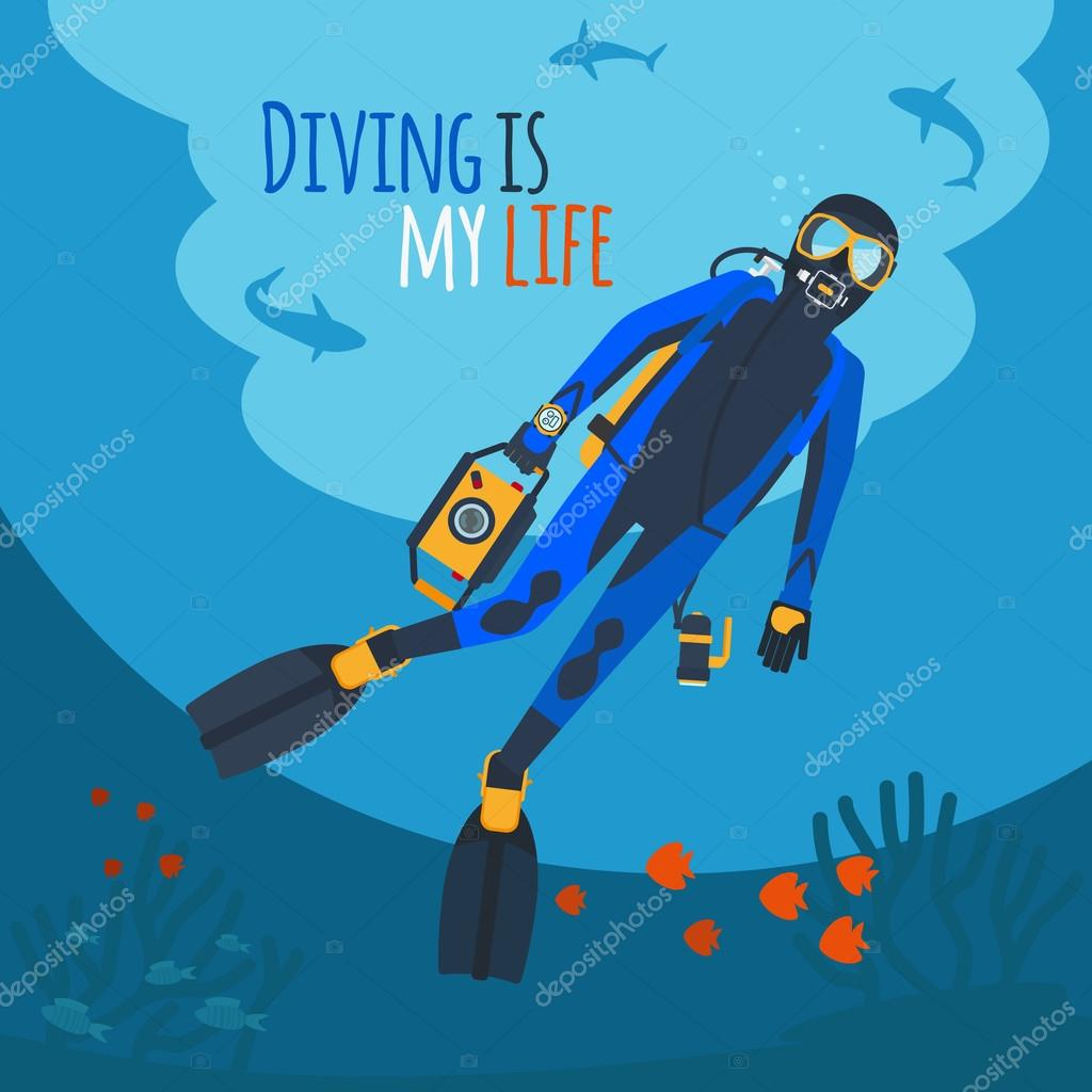 Diver underwater vector illustration