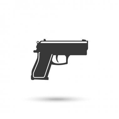 Powerful pistol or hand gun icon vector on white stock vector