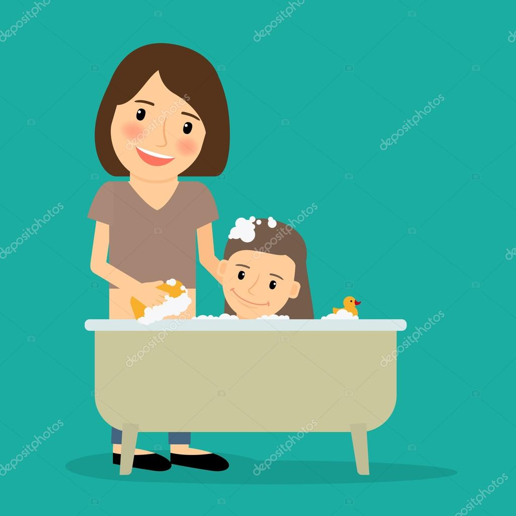 Madre bañando niña — Archivo Imágenes Vectoriales ...
