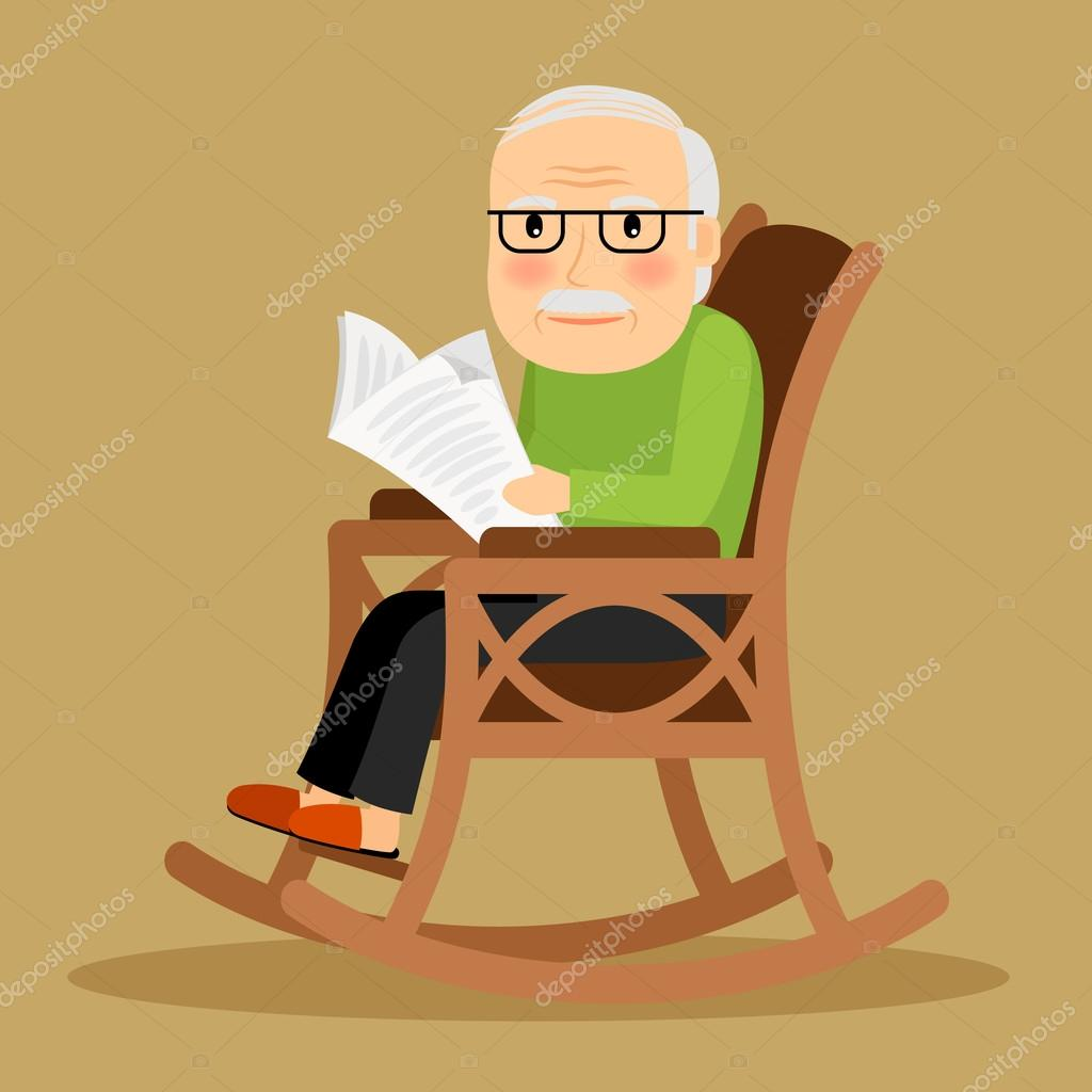 Old man sitting in rocking chair and newspaper — Stock Vector ...