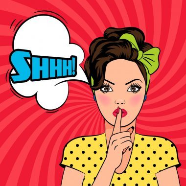Vector pop art woman asking for silence with the finger on her lips. Shhh text in speech bubble stock vector