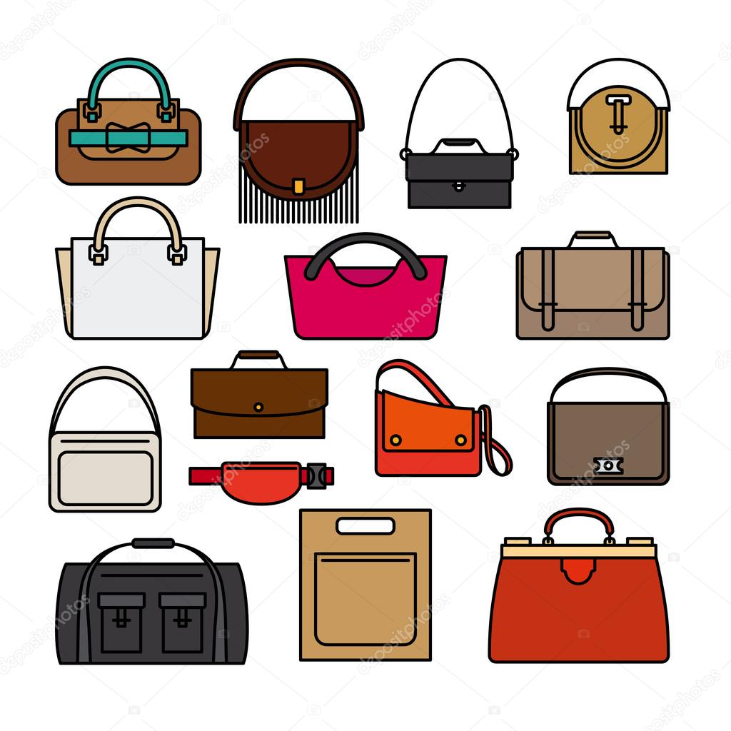 bag colored icons bags and handbags vector icons stock vector rh depositphotos com