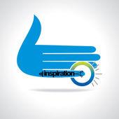inspirace prst ruky s žárovka vektor