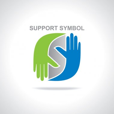 hands with supporting symbol vector
