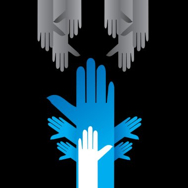 many hands with human rights concept