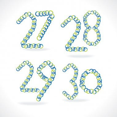numeric number created by blue green circles
