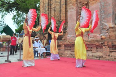 Nha Trang, Vietnam - July 11, 2015: Performing of a traditional folk dance of champa at the Ponagar temple in Nha Trang