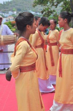 Nha Trang, Vietnam - July 11, 2015: Performing of a traditional folk dance of champa at the Ponagar temple in Nha Trang