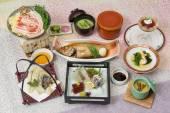 Spring Banquet Kaiseki meal with braised grouper, fresh suhi, mi