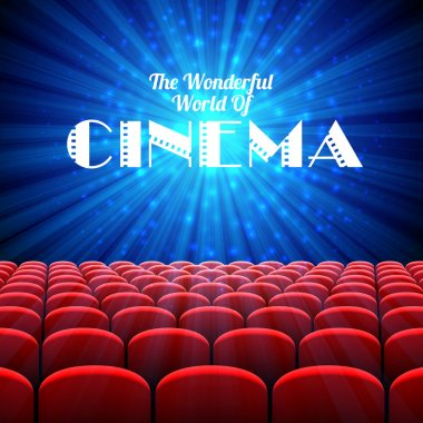 The Wonderful World Of Cinema, vector background with screen and red seats stock vector