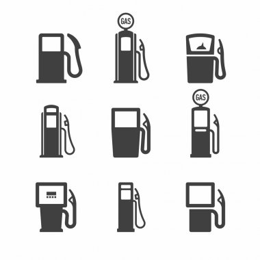 Gas pump icons set