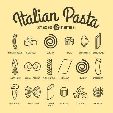 set of italian pasta icons