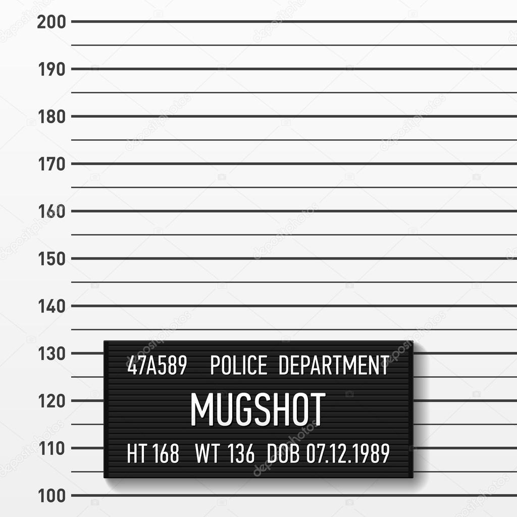 Stock Illustration Police Mugshot Template on Empty Number Line