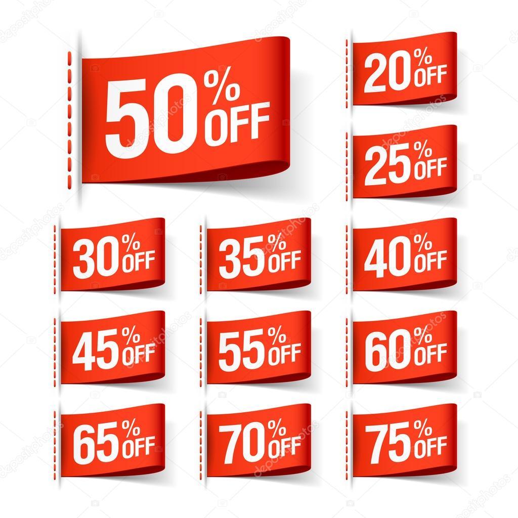 Discount sale labels set