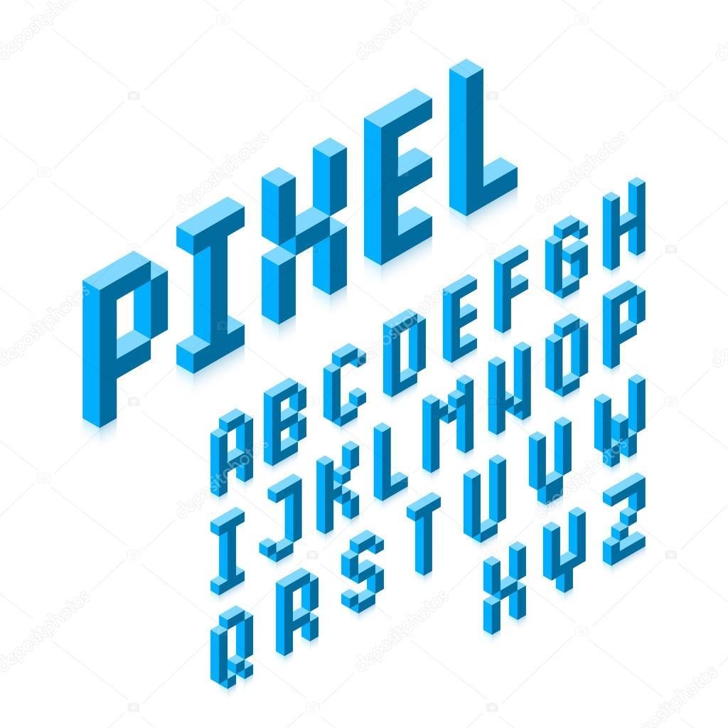 Isométricas 3d Fonte De Pixel