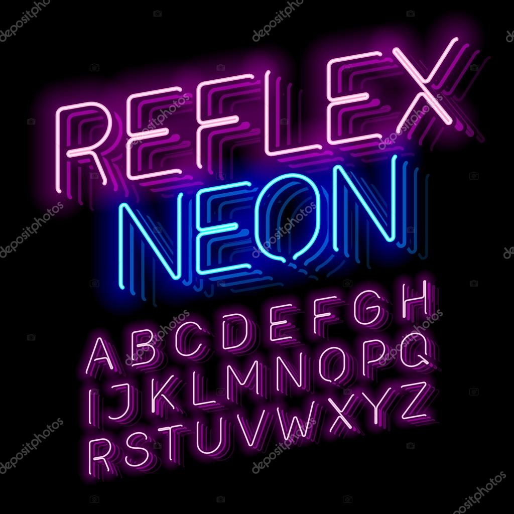Reflex Neon Font Vector Illustration By Alhovik