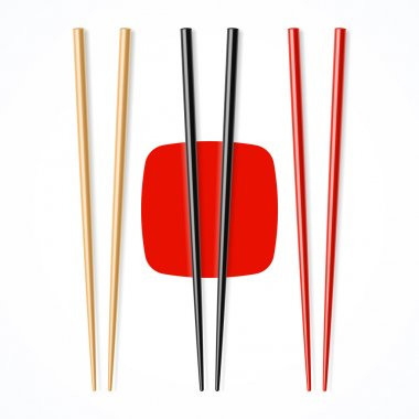 Red and black wooden chopsticks