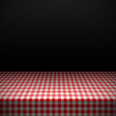 Table covered with checkered tablecloth