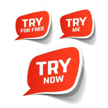 Try Now, Try For Free and Try Me speech bubbles