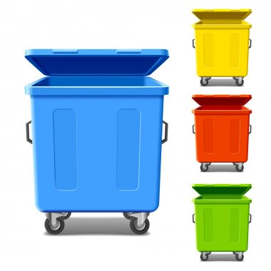 Set of colorful recycling bins