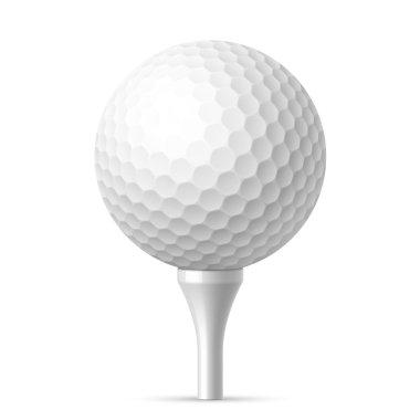 Golf ball on white tee