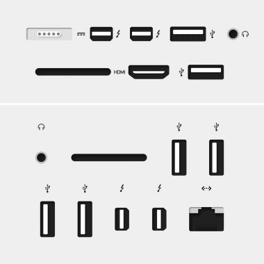 Computer connectors with icons