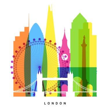 London landmarks bright collage