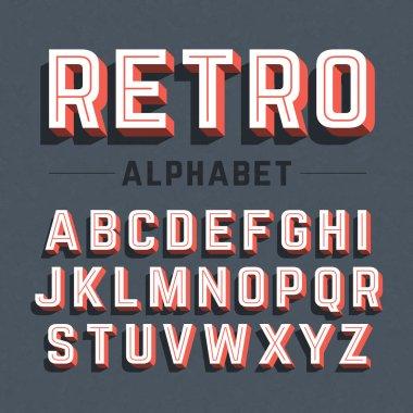 Retro style 3d alphabet