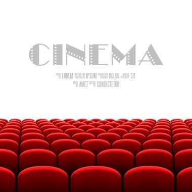 Cinema auditorium with white screen
