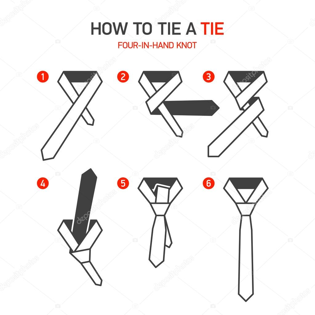 How to tie a tie instructions, Four-In-Hand knot. Vector. — Vector by  Alhovik