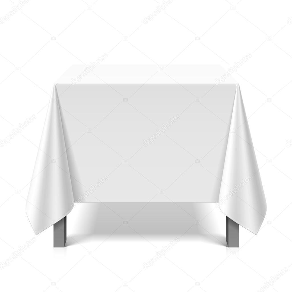 tisch mit wei er tischdecke bedeckt stockvektor alhovik 69939225. Black Bedroom Furniture Sets. Home Design Ideas