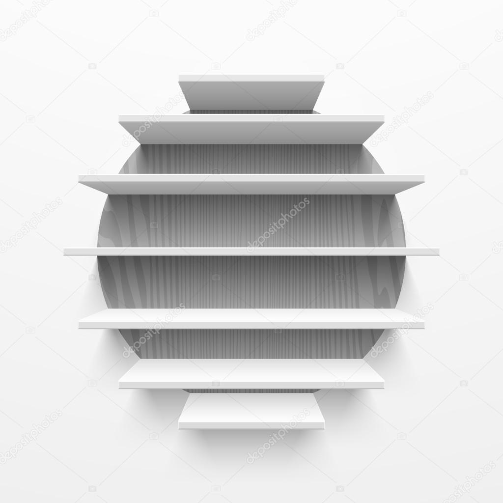 Round Wall Bookshelf Stock Vector