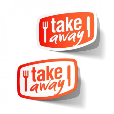 Takeaway labels on white