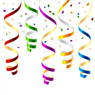 Party streamers confetti isolated on white background clip art vector