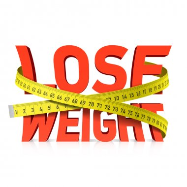 Lose weight word with measuring tape concept. Vector. clip art vector