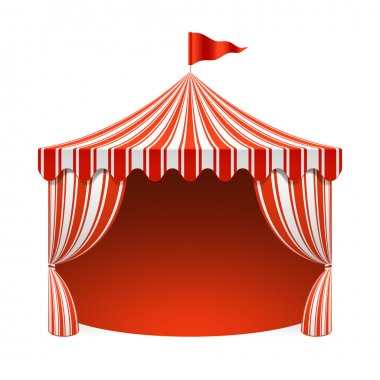 Circus tent on poster background