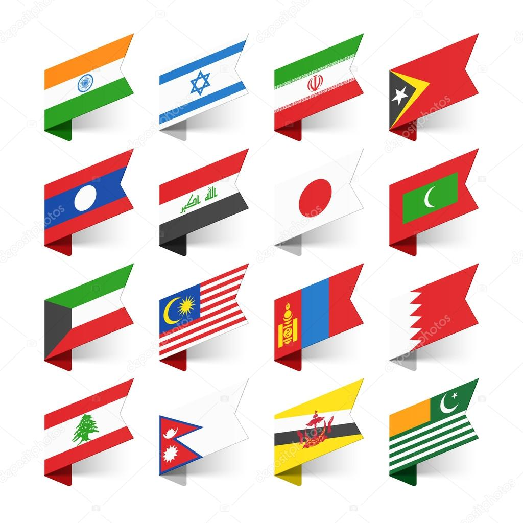 Set of Flags Asia