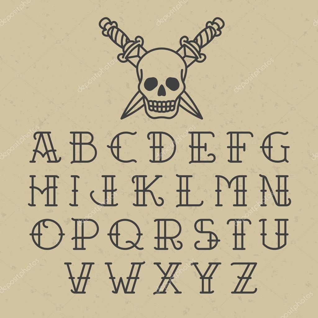 Old School Tattoo Font Stock Vector Alhovik 91647166