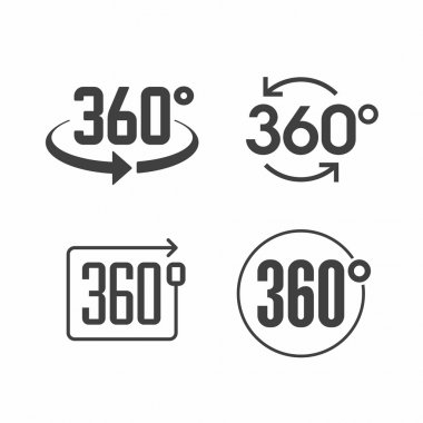 360 degrees view sign icons