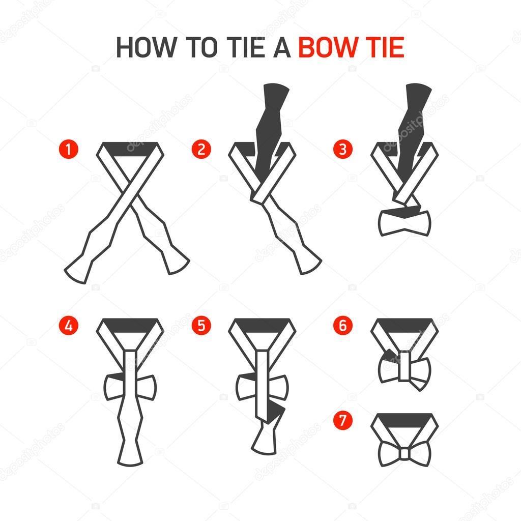Bow Tie Instructions Stock Vector Alhovik 97801988