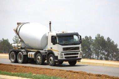White concrete mixer