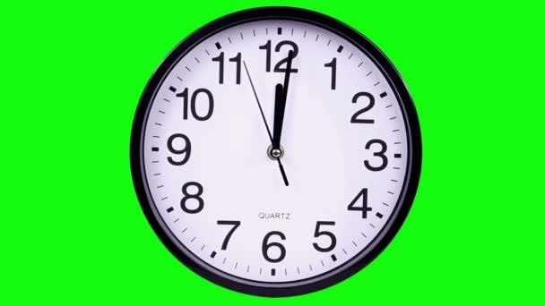 Nástěnné hodiny na zeleném pozadí Timelapse