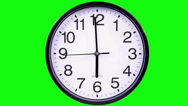 hodiny na zeleném pozadí 18:00