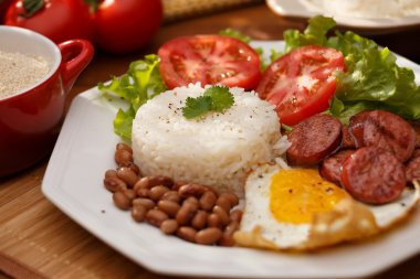 rice, beans and egg