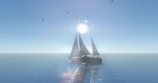 4 k plachetnice plachtění na moři, shine sun  letící Racek, širokého oceánu povrchu.