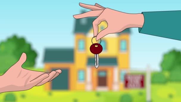 Koncept prodeje soukromých nemovitostí: předání klíčů kupujícímu v detailu rukou prodávajícího nebo realitního makléře. V pozadí můžete vidět dům a ceduli Na prodej