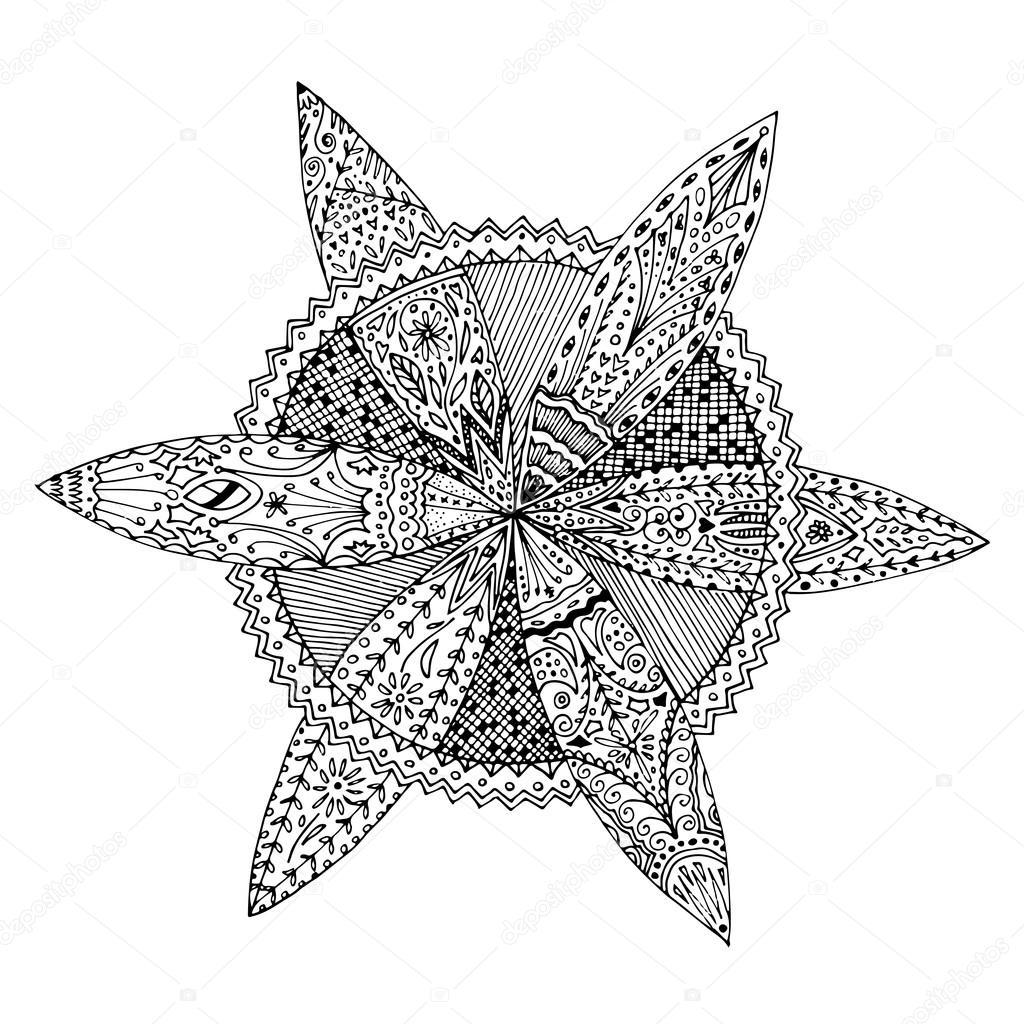 Circular Round Flowery Mandala Zentangle Hand Drawn Doodle Coloring