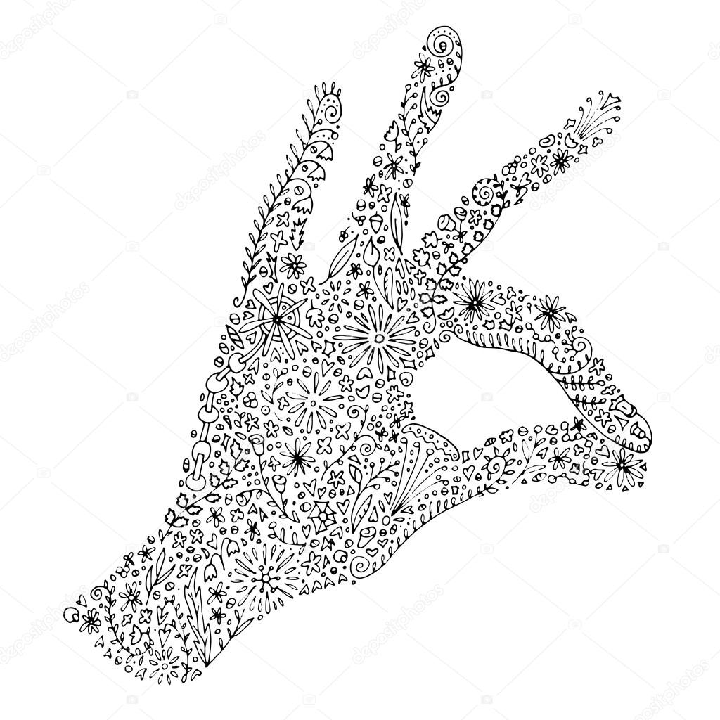 printable zentangle hand drawn doodle with left palm and fingers